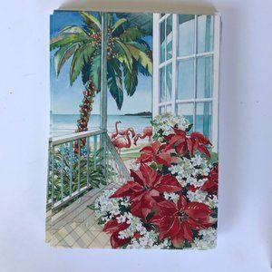 Christmas Cards Flamingo Palm Tree Set of 14 New